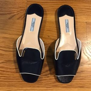 Prada navy and white slide sandals